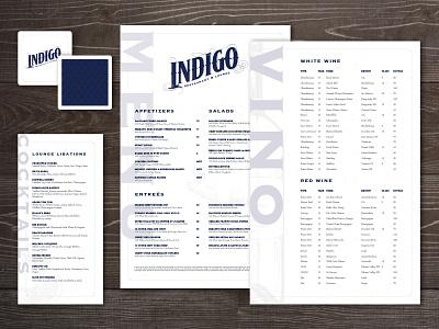 Indigo Lounge Branding branding restaurant menu food