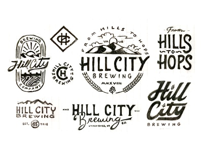 Hill City Brewing Exploration process sketch logo hops brewing brewery beer