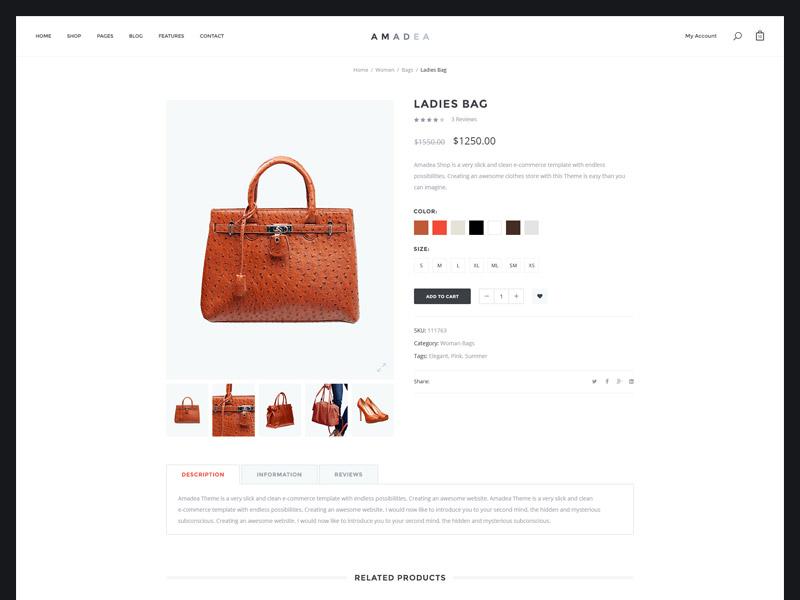 Amadea PSD   Product Page by Alexander Samokhin - Dribbble