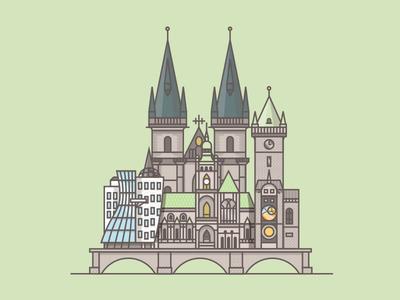 Prague illustration building architecture brindge city flat shadow brick texture czech republic dancing house prague