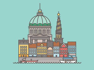 Copenhagen, Queen of diamonds copenhagen denmark building architecture boats city card explore flat skyline playing card