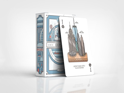 NYC card and box for Explore deck playing cards card package buildings architecture crown illustration new york city statue of liberty