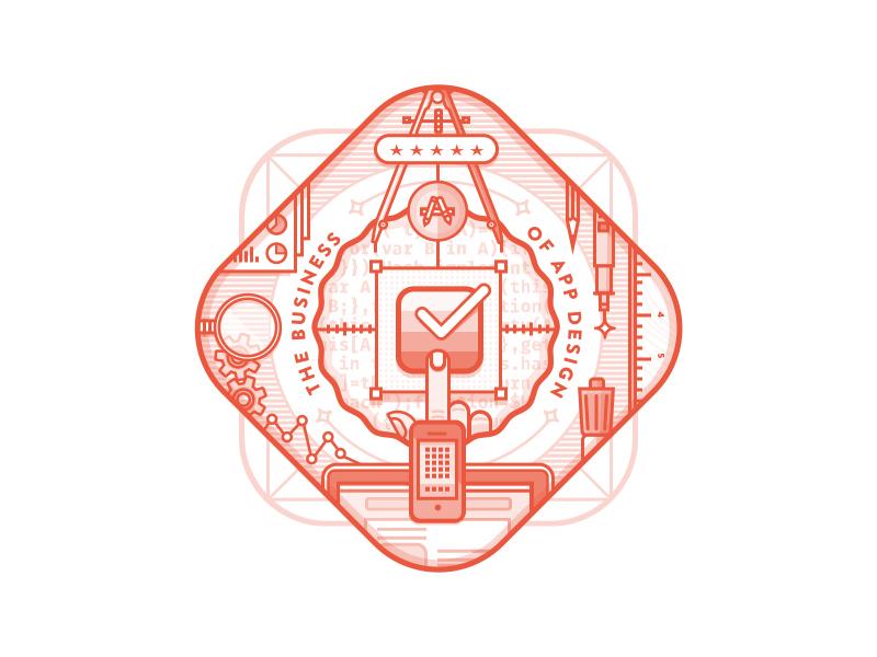 Business Of App Design Badge illustration badge logo app icon device blog web design