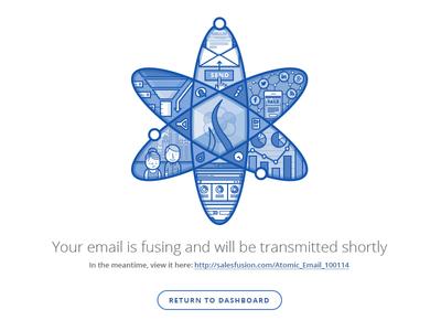 Transmitting email... illustration ui atom marketing badge email button open sans web design science