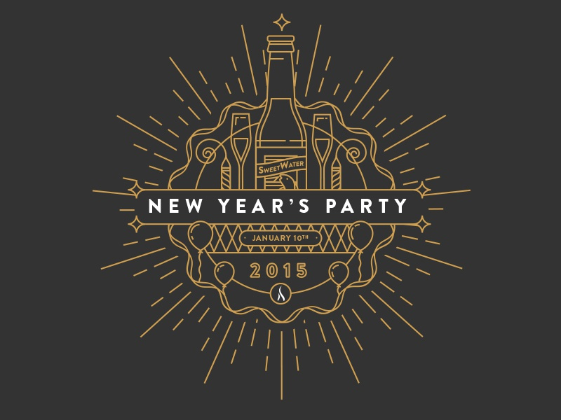 New Year's Invite invite email seal badge line brandon grotesque atlanta new years