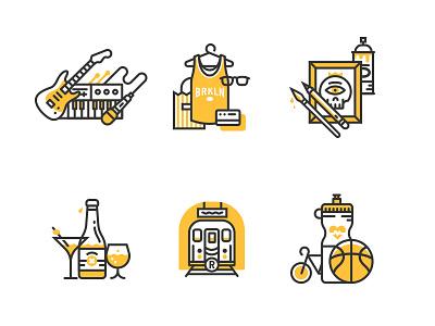 Illo'con style experimentation illustration icon flat brooklyn music shopping art drinks transportation fitness line tiny bicycle