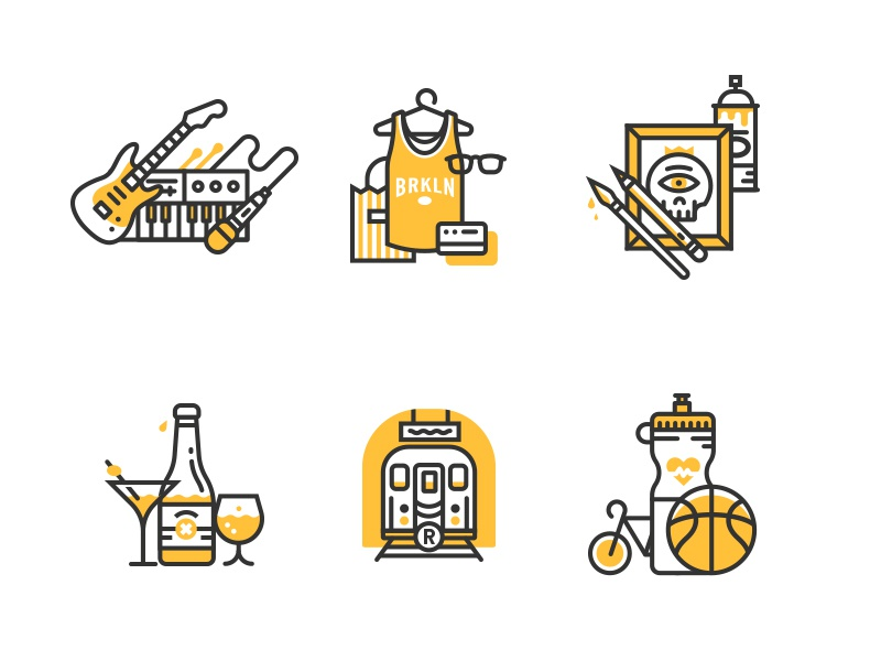 Illo'con style experimentation illustration icon flat brooklyn music shopping art drinks transportation fitness line tiny bicycle