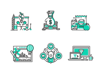 Jobs page 'cons icons startup tech illustration line mono snacks pizza