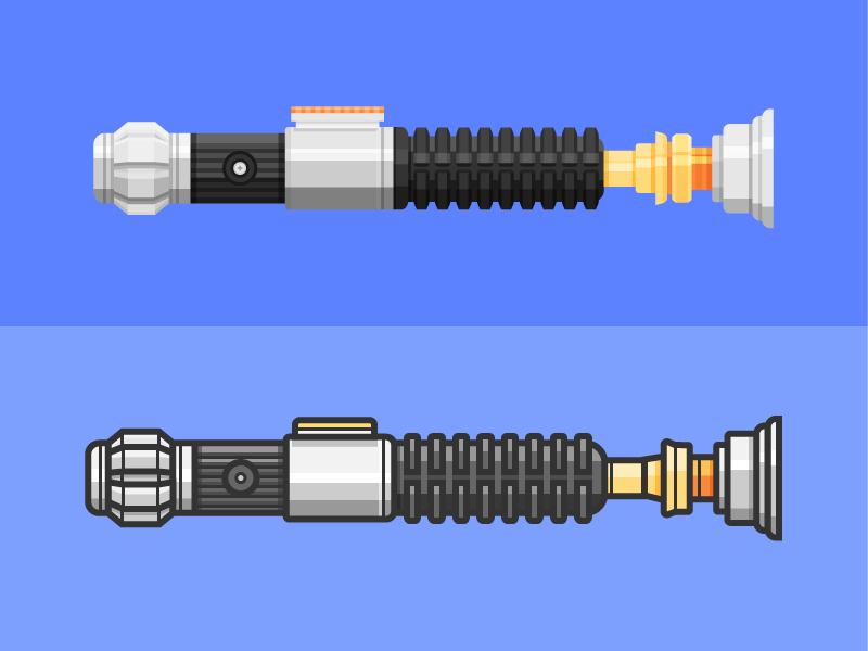 Two flavors of sabers force star wars line illustration lightsaber
