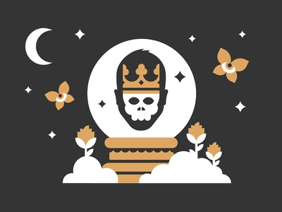 Psychic butterflyballs skull psychic crystal ball illustration
