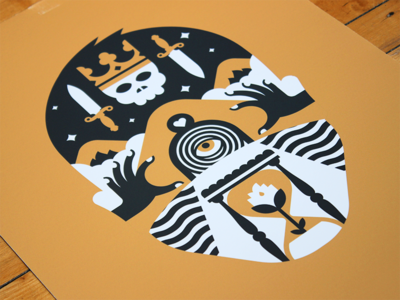 Tarot : Death hourglass surreal illustration eye abstract symbol head occult tarot print
