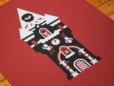 Tarot: Tower print tarot occult castle symbol abstract photo negative illustration