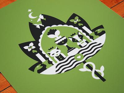 Tarot: Lovers symbol leaf nature illustration print photo card tarot