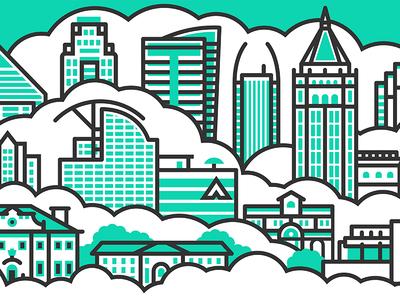 Atlanta office mural illustration line clouds skyline building mural atlanta city