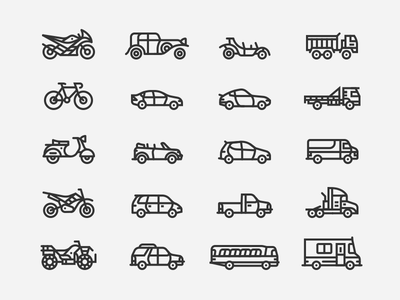 Vehicle Icons line automobile truck car motorcycle bike vehicle icons