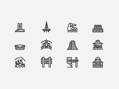 Brazil Landmark Icons buildings south america architecture mono line icons brazil landmarks
