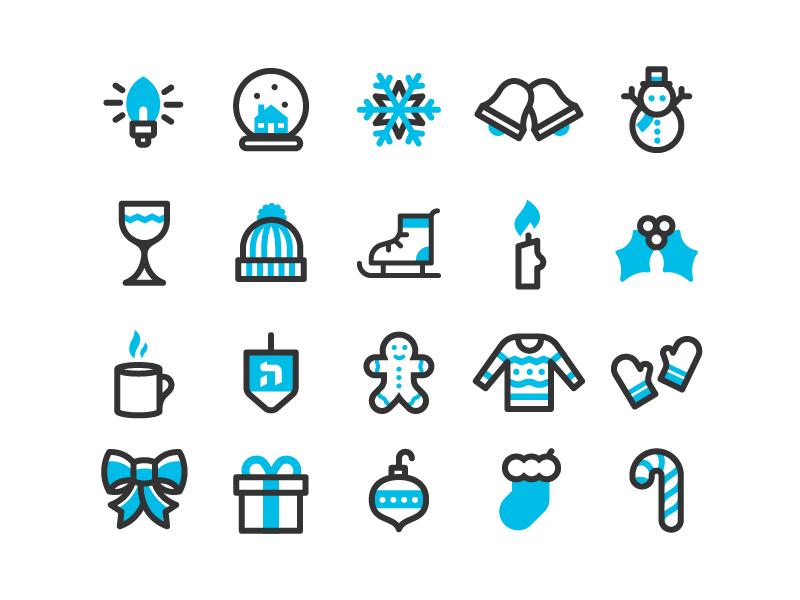 Holi'cons snow hanukah christmas line set winter holiday icons