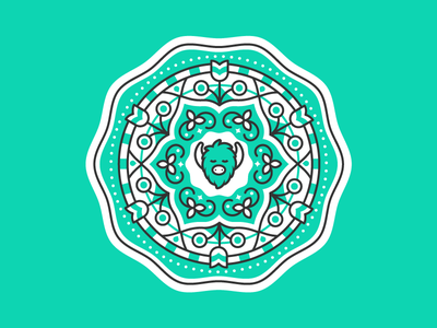 Yogi Yak line pattern badge seal yak mandala