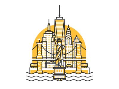 New York line skyline statue new york buildings illustration city