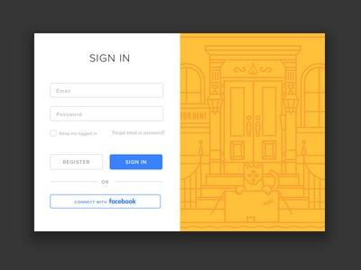 Sign In modal cat door line illustration welcome sign in ui modal login