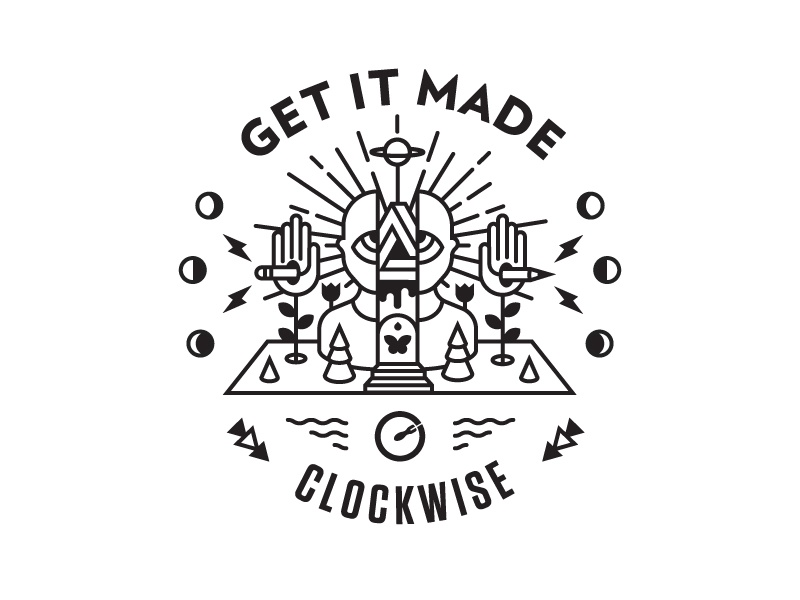 Get it Made - Clockwise Badge process magic line art creation moon illustration badge