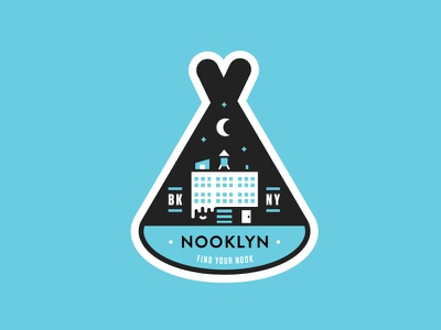 Sticky Teepee outline building typography brooklyn teepee sticker