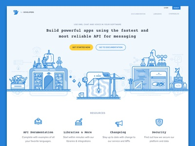 Developer Portal Illustrations blueprint line portal illustration ui website product header web
