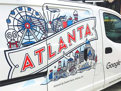 Google Fiber Atlanta Van vehicle collage city google atlanta