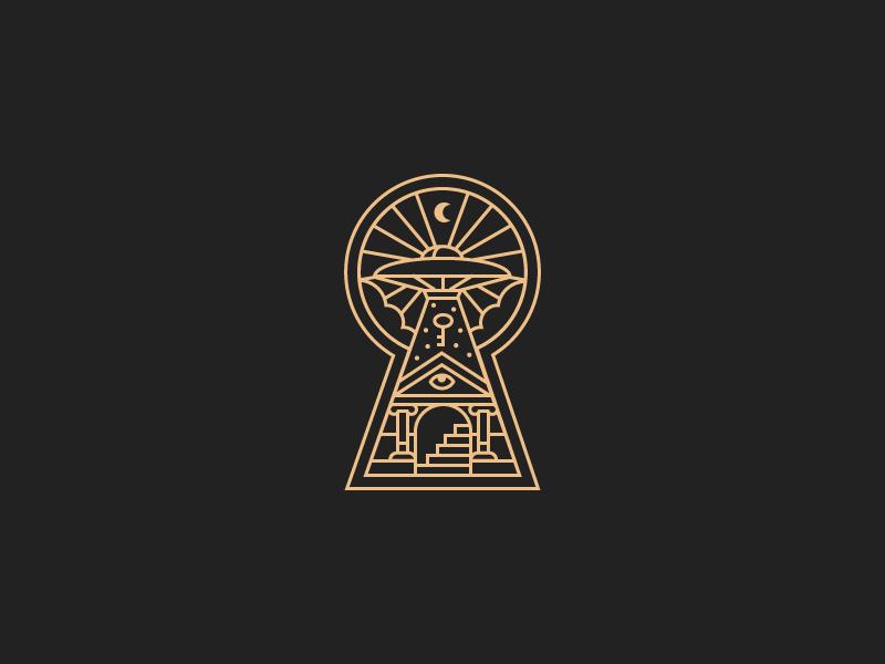 Legion of Accessium Abducticus aliens lock logo line key paranormal seal badge