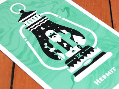 Tarot: Hermit nasty floor texture marble lantern occult negative space print card hermit tarot