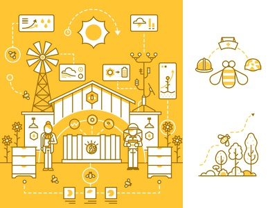 NYT x IBM BEE-2-B article  data ecosystem watson technology environment bees line ibm illustration