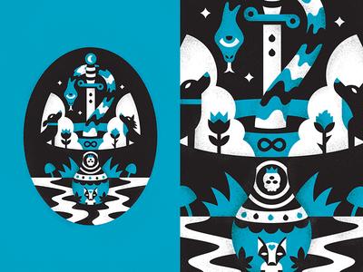 Mindful Magic surreal vase texture magic negative space illustration mushroom snake