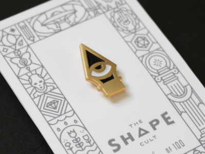 Shape Cult: Eye Nib lapel pin occult packaging illustration line icon enamel pin pen