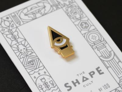 Shape Cult: Eye Nib lapel pin occult packaging illustration line icon enamel pin pen
