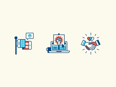 From Slack to Act long fingers set device editorial politics illustration icon