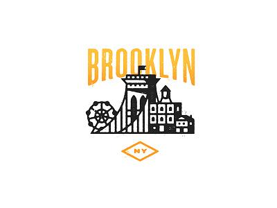 Brooklyn Lyfe  skyline contrast knockout badge city brooklyn