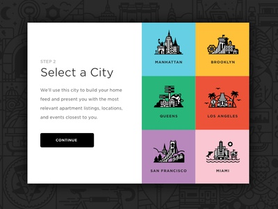 City Select registration sign up web ui icon city