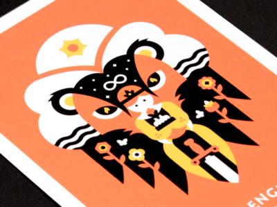 Tarot: Strength geometric abstract print card occult woman lion strength tarot