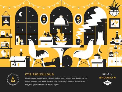 Night Moves furniture interior house room cat typography header illustration