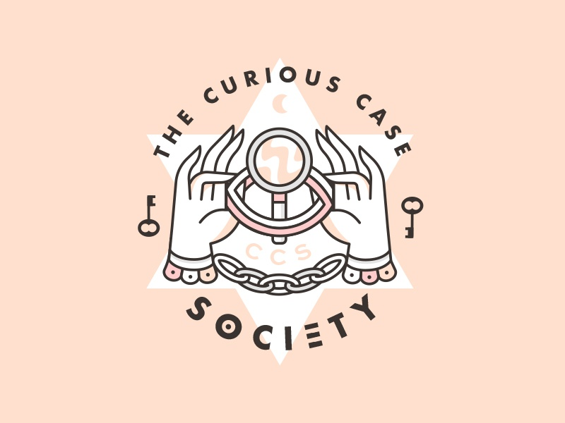 The Curious Case Society chain hands society eye mystery spooky badge
