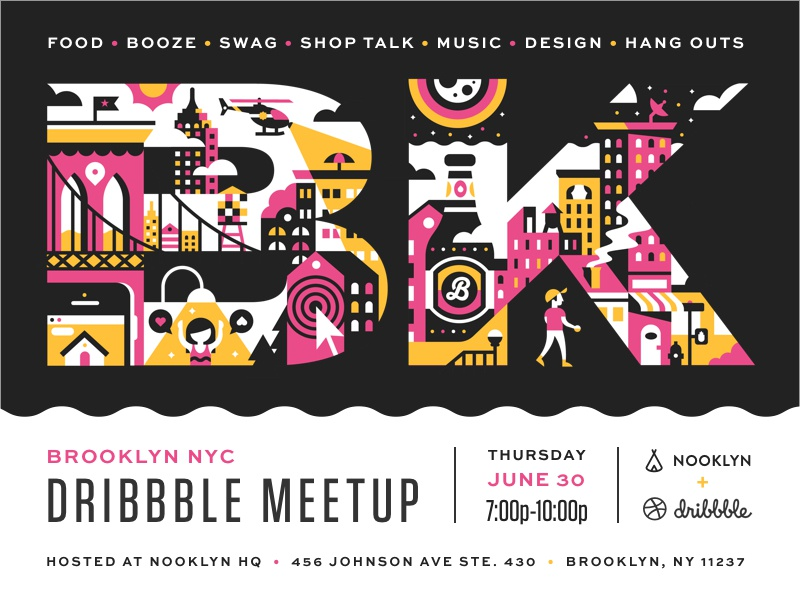 Brooklyn Dribbble Meetup Extravaganza typography flyer poster illustration event invite meetup