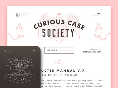 Curious Case Society Inductee Manual V.7 layout logo secret spooky typography crest stationary branding society