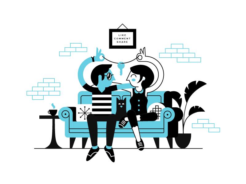 Roomies 4 Lyfe plant roommates furniture room line illustration character people