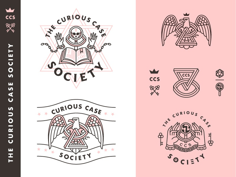 Curious Case Society eagle penrose bird society occult spooky logo branding badge