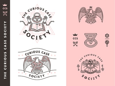 Curious Case Society eagle penrose bird society occult spooky logo branding badge