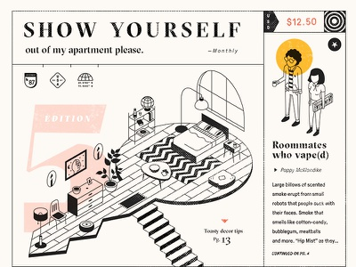 Show Yourself mag pressura sectra vaping vape cover room apartments isometric zine layout