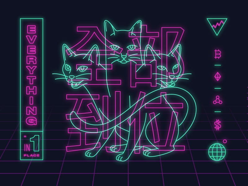 Crypto Cats shapes crypto synthwave line cat