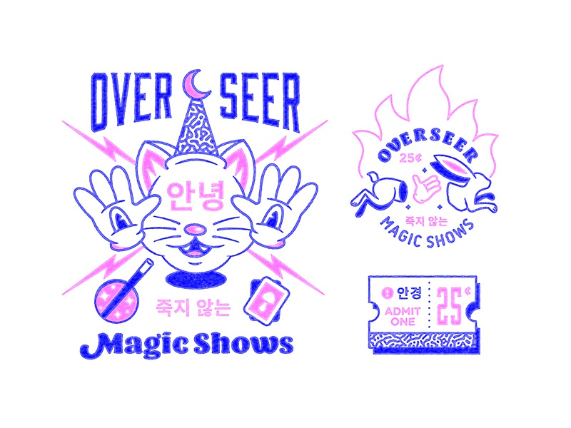 Overseer Magic Shows badge line logo magic branding illustration
