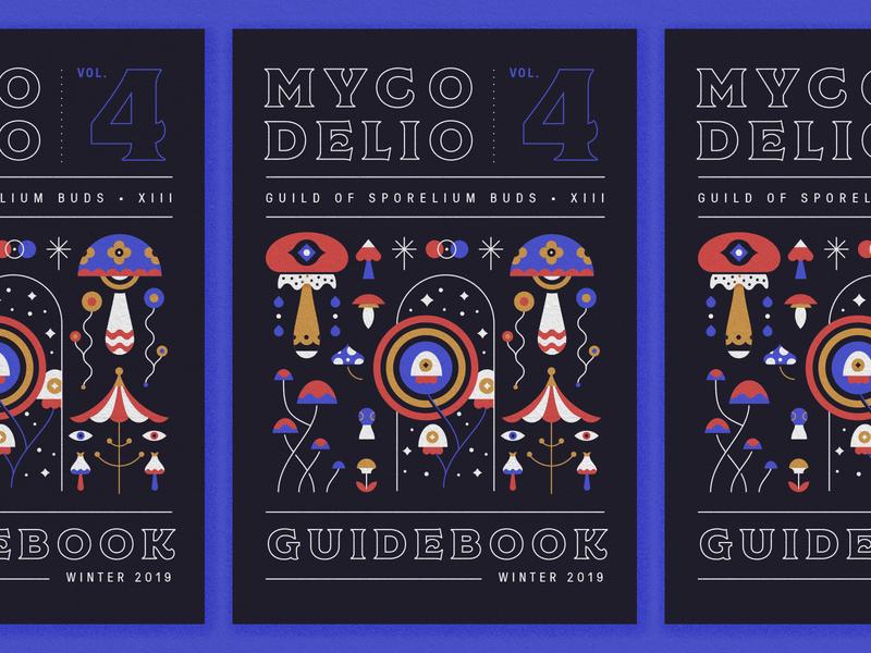 Mycodelio Guidebook regina black mushroom layout typography illustration cover book manual cover
