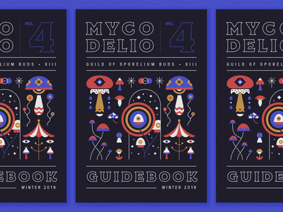 Mycodelio Guidebook regina black mushroom layout typography illustration cover book manual cover